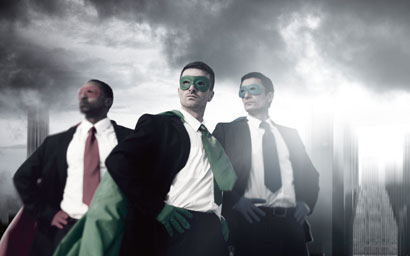 Superhero businessmen