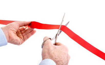 cutting the ribbon