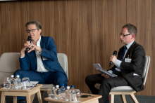 Nick Fitzpatrick, Group Editor of Funds Europe (right), interviews Keith Hale, Non-Executive Director and Fintech Investor