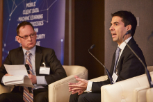 Nick Fitzpatrick, Group Editor of Funds Europe (left), interviews Dr Ruben Lara, Chief Data Officer at Aberdeen Standard Investments